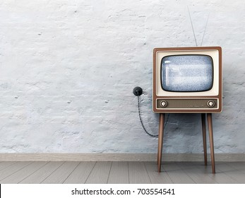 Old television on a white dirty plaster wall background 3D illustration