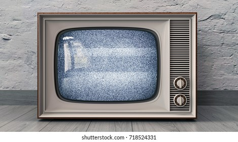 Old television on a white wall background 3D illustration