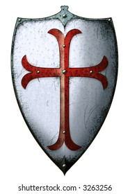 Old templar shield with red cross