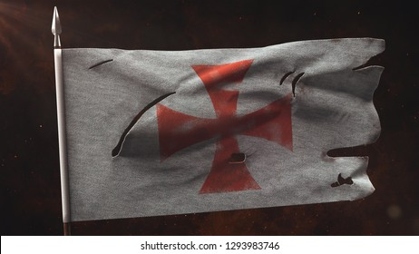 Old Torn Knight War Banner on the spear. Damaged templar flag 3D illustration