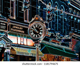 Old town with antique street clock and stores color edges digital art photography art