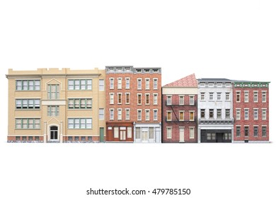 Old town buildings isolted on white background. 3d illustration