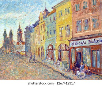 Old town cafe. Beautiful impressionism-style cityscape oil painting.  Cozy old street with a cafe in the foreground painted with bright strokes.