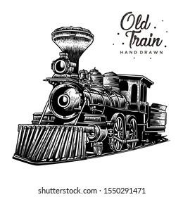 Old train hand drawn, vintage design