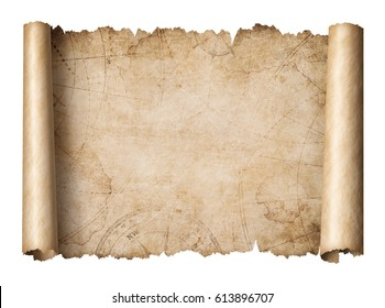 old treasure map scroll isolated 3d illustration