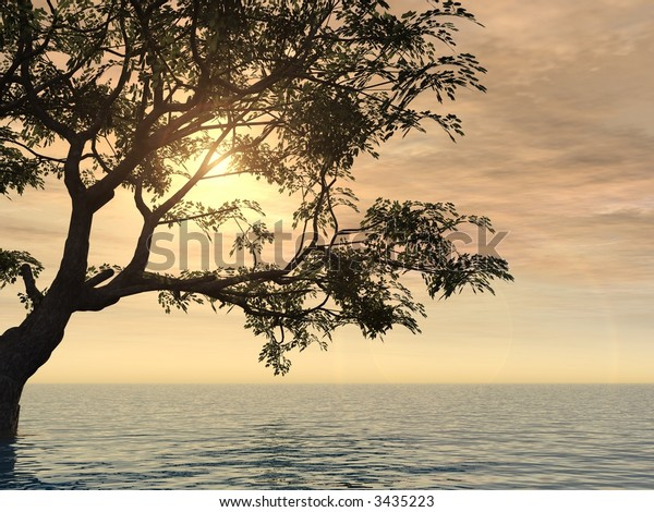 Old tree at a ocean beach - digital artwork.