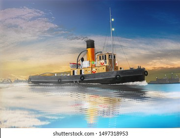 Old tugboat in the harbor