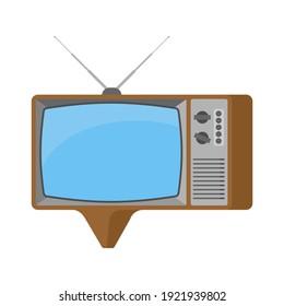 Old TV bubble speech. Television set retro