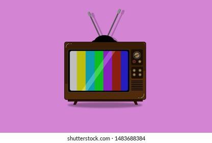 old tv illustrated pink background