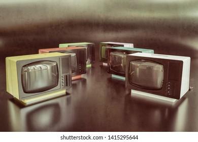 old tv isolated on black background 3d illustration