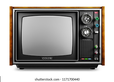 An old TV with a monochrome kinescope isolated on white background 3d