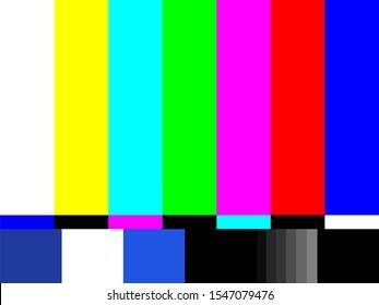 Old tv test screen. Retro no channel signal screensaver