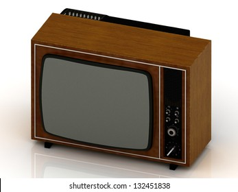 Old TV in the wooden case 1970 release on a white background