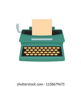 Old typewriter icon. Flat illustration of old typewriter icon for web isolated on white