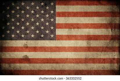 Old usa flag. Grunge background