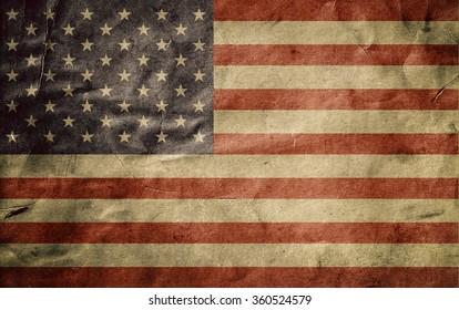 Old usa flag. Grunge. Old vintage paper. Fold texture