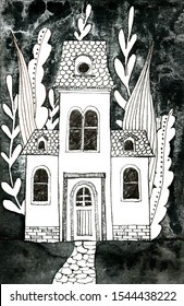 Old victorian house with flowers and leaves. Hand drawn ink pen illustration.