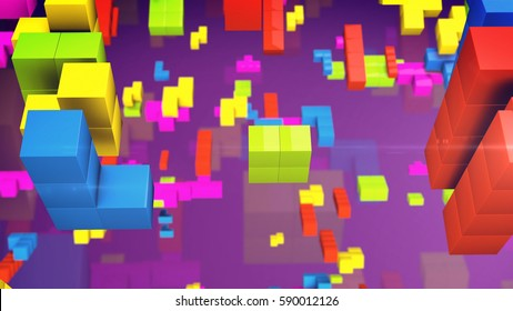 Old video game square tetris. Colored line bricks game pieces. 3d rendering.