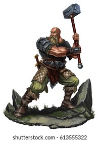 Old Viking with a two-handed hammer on rock