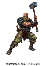 Old Viking with a two-handed hammer on white