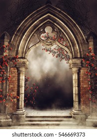 Old vintage arch with colorful rose vines and fog. 3D illustration.