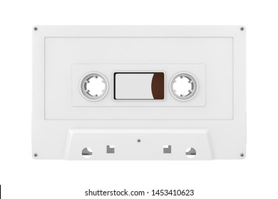 Old Vintage Audio Cassette Tape Mock Up in Clay Style on a white background. 3d Rendering