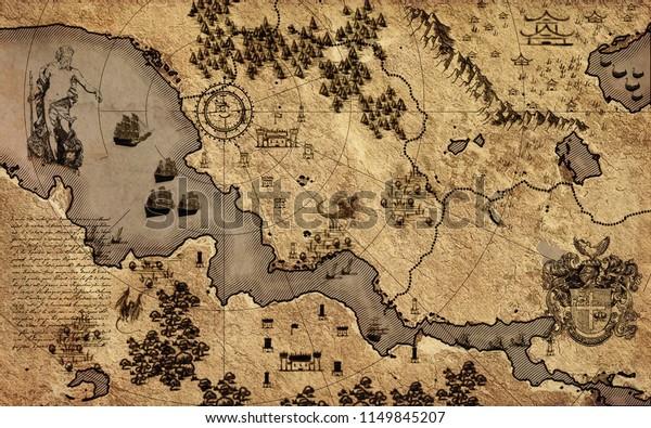 Старая винтажная фэнтези карта