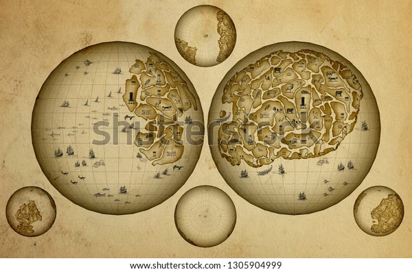Old vintage fantasy map. Antique pirate treasures map Decorative ancient background  hand drawn illustration sketch Imitation of medieval drawings. globe hemisphere