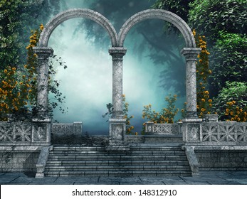 Old vintage garden with marble arches and roses