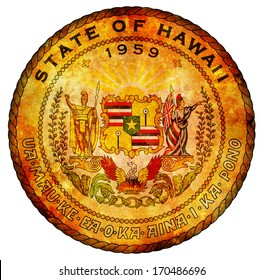 old vintage isolated over white symbol of hawaii