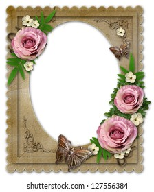 old vintage paper frame with flowers and butterfly  isolated  on white