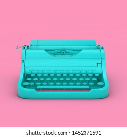 Old Vintage Retro Blue Typewriter in Duotone Style on a pink background 3d Rendering