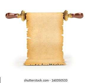 Old vintage scroll isolated on white