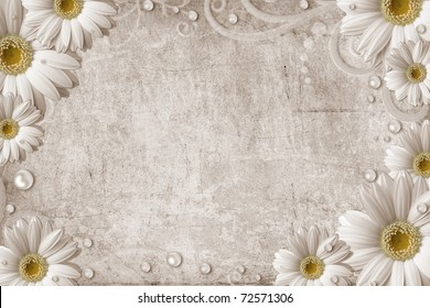 Old vintage shabby background with daisy and pearls