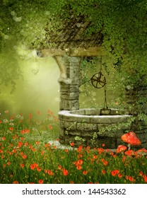 Old vintage well on a green meadow with poppy flowers