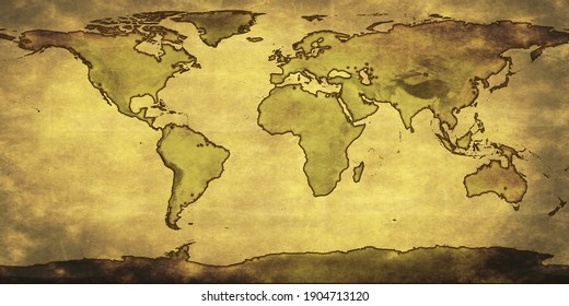 old vintage world map showing the earth continents