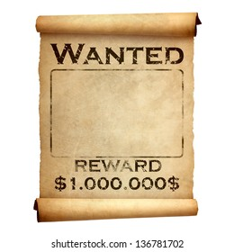 wanted reward poster 3 d illustration isolatedのイラスト素材
