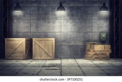 Old warehouse with wooden crates inside. 3d rendering