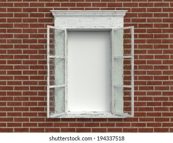 An Old Weathered Window Against a Brick Wall with a Blank Area
