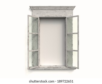 An Old Weathered Window Against a White Background