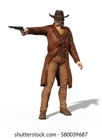 An old west outlaw takes aim - 3d render.