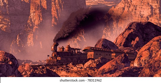Old west train rolling through a Southwest canyon with rock formations brought out by the morning sun light.