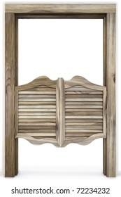 Old Western Swinging Saloon Doors. isolated on white.