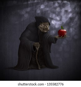 old wicked witch with poisoned red apple