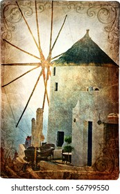 old windmill on Santorini - picture in retro style