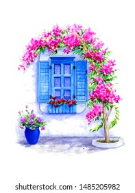 Old window surrounded by pink bougainvillea  tree in Bodrum, Turkey.Watercolor illustration isolated on white.