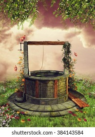 Old wishing well with spring flowers and butterflies on a green meadow