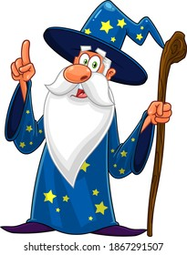 Old Wizard Cartoon Character With A Cane Pointing. Raster Illustration Isolated On White Background