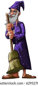 a old wizard with a purple hat and a broom