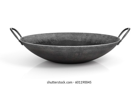 Old wok pan isolated on a white background. 3d illustration